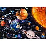 【Solar System Puzzle 1000 Pieces】 YINXN Jigsaw Puzzles Planets in The Solar System Space and Astronauts, High Difficulty Level Puzzles Games, 27.5 x 19.7 in (Letters on The Back)