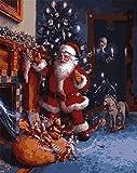 ZXlDXF Kit de pintura al óleo por número para niños, adultos, principiantes, Papá Noel, envíe regalos, decoración de Navidad, regalos, 40,6 x 50,8 cm