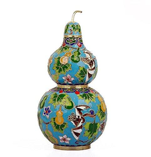 Eigenschaften der traditionellen Prozess 6Cloisonne Flaschenkürbis Vase Kupfer Reifen Seide Home Furnishings Dekoration Basteln