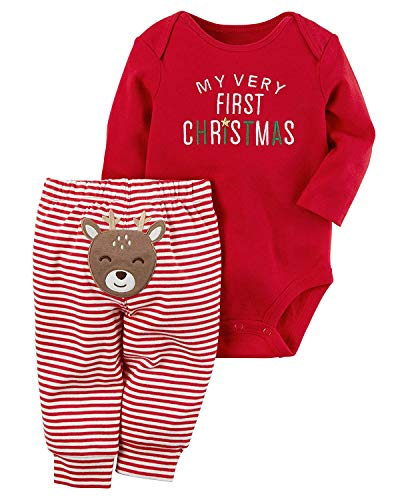 AGAPENG Christmas Outfits Baby Girls Boys My First Christmas Rompers Bodysuit Onesie + Stripe Deer Print Pants 0-3Months Red