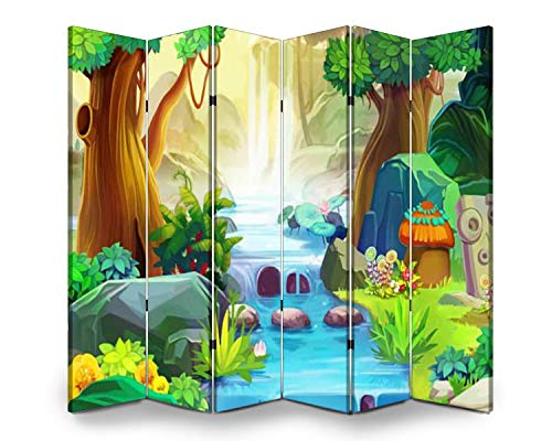6 Panel Wall Divider Going Upstream Realistic Fantastic Cartoon Style Artwork Scene Folding Canvas Privacy Partition Screen Room Divider Sound Proof Separator Freestanding Protective Divider