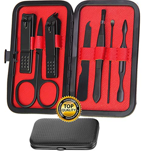 Manicure Set Grooming Kit - Stainless Steel Premium Professional Nail Clippers Kit Easy Carry Best Gift for Men and Women(Red 7pcs)