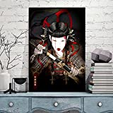LZASMMVP Mujer Japonesa Samurai Arte de Pared Impresión en Lienzo Pintura Carteles e Impresiones Vintage Cuadros de Pared para decoración de Sala de Estar   50x70cm Sin Marco