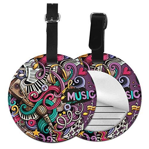 Music Doodle - Juego de etiquetas para maleta de piel personalizada, accesorios de viaje, etiquetas redondas para equipaje Negro Negro 2 PC