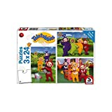 Schmidt Spiele 56244 Teletubbies, Im Teletubby-Land, Kinderpuzzle, 3x24 Teile, Weiss