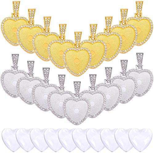 40 Pieces Rhinestone Bezel Cabochon Trays Set Include 20 Heart Style Pendant Base Setting and product image