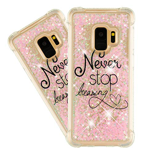 IMEIKONST Case para Galaxy S9, Glitter Liquid Brillante Sparkle Quicksands Cover Transparente Silicona TPU Anti-caída Protective Bumper Funda para Samsung Galaxy S9 Bling Pink Letters YB