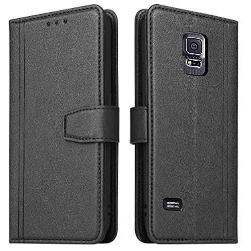 ZRANTU Funda para Samsung S5 con protección RFID, Samsung Galaxy S5 Neo, funda de piel con tapa, tarjetero, cierre magnético, cartera de piel, color negro