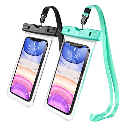 Mpow Waterproof Phone Pouch, New Type TPU Waterproof Case, One-Piece Design Underwater Phone Dry Bag Compatible with iPhone 11 Pro Max/Xs Max/XS/XR/X, Galaxy S10, Google up to 6.8 Inches(Black+Green)
