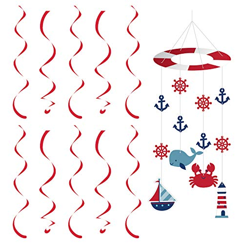 Creative Converting Nautical Baby Décor Bundle | Hanging Cutouts, Dangler | Baby Shower, Sailors Decor, Gender Reveal, Birthday Boy Celebration