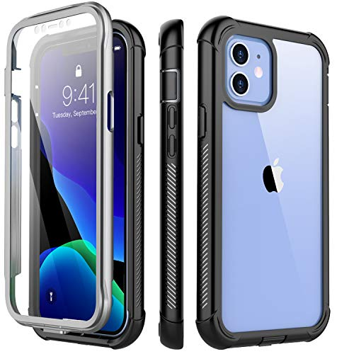 Redpepper Compatible with iPhone 12 Mini Case,Shockproof Built-in Screen Protector Clear Full Body Heavy Duty Protection Rugged Cover for iPhone 12 Mini 5.4 inch 2020(Black/Clear
