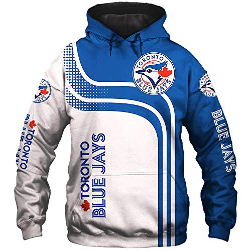LIULL Sport Hoodiepullover Toronto Blue Jays Baseball Digital-Sweatshirt Druck Baseball Uniform Teens Jacke A-S