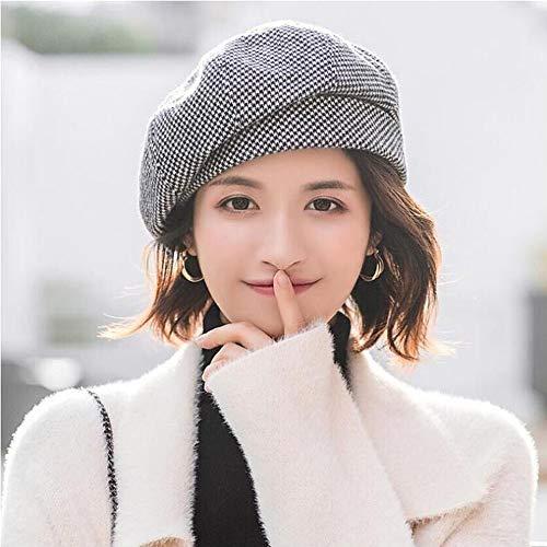 WANYIG Winter Barett Cap Damen Koreanisch Stil Frauen Barette Baskenmütze Kleid Mütze Wintermütze Bequem und Warm für Frühling/Herbst/Winter(Schwarz)