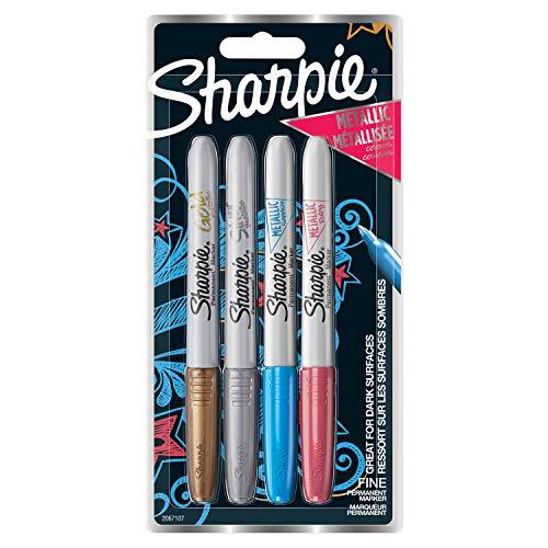 Sharpie rotuladores metálicos permanentes, punta fina, colores surtidos, juego de 4 (2067107)