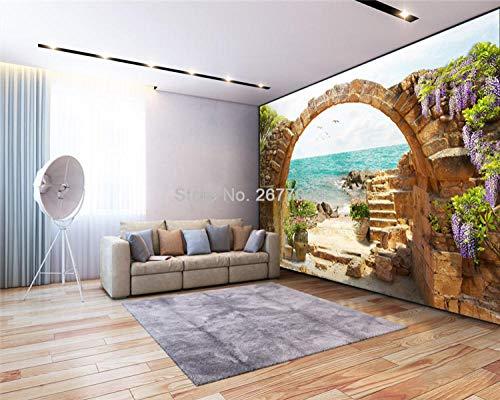 ZGHONG Aangepaste 3D Muurschilderingen Moderne Tuin Stenen Bogen Zeezicht Fotobehang 3D Wanddoek Woonkamer TV Home Decor Wandbekleding 350x245 cm (137.8 by 96.5 in ) 350x245 Cm (137.8 Bij 96,5 in)