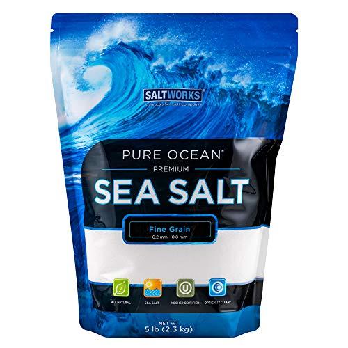 SaltWorks Pure Ocean Sea Salt, Fine Grain, 5 Pound Bag