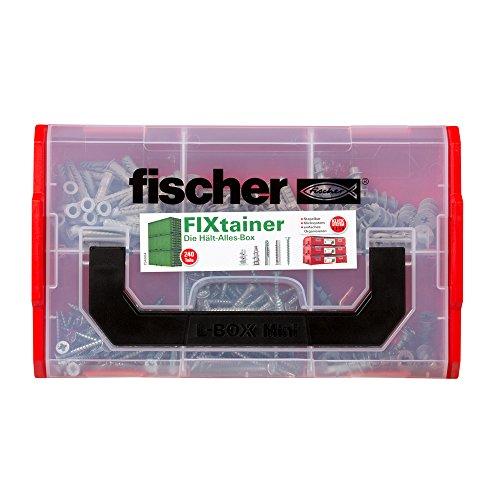 fischer FIXtainer Hält-Alles-Box, Dübelset mit 240 Teilen, Spreiz-, Metall-, Universal- & Gipskartondübel, inkl. Setzwerkzeug & Schrauben, praktische Werkzeugkiste