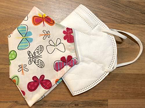 Überzug für Masken Maskenüberzug verschönern Bezug Cover Abdeckung Verschönerung einlagig wiederverwendbar Maskenüberzug waschbar Baumwolle wiederverwendbar bunt Schmetterlinge