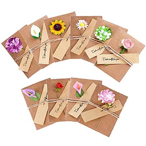 10 pezzi Biglietto Di Auguri Cartolina Buste, Retrò Carta Kraft Fiori Secchi Decorato, par Diverse...