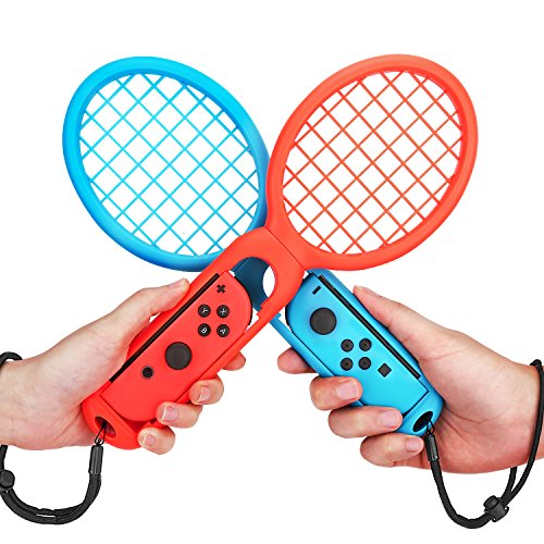 MoKo Tennis Racket Compatible with Nintendo Switch, 2PCS Switch Mario Tennis Aces Game Accessories, Twin Pack Grips for Switch Joy-Con Controller – Red & Blue