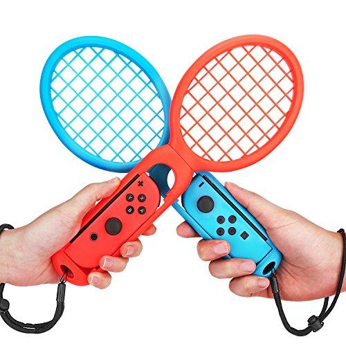 MoKo Raqueta de tenis Compatible con Nintendo Switch, 2PCS Nintendo Switch Accesorios de Juego Mario Tennis Aces, Empuñaduras Twin Pack para Switch Joy-Con Controller , Rojo y Azul