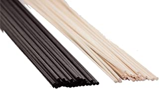 Green Apple 50 Black + 50 Original Rattan Reed Sticks - Original and Black colored, 100 sticks in total, 10 sticks each pa...