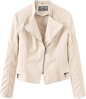 Women's Faux Leather Motorcycle Jacket, Women's Imitation Leather Casual Jacket, Spring and Autumn Winter S-XL,White,L