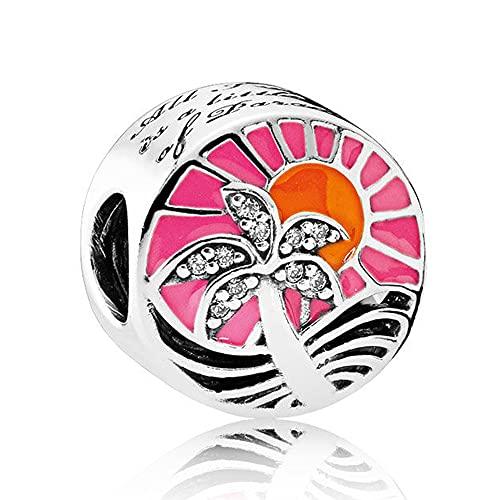 LIIHVYI Pandora Charms para Mujeres Cuentas Plata De Ley 925 Regalo De Puesta De Sol Tropical Compatible con Pulseras Europeos Collars