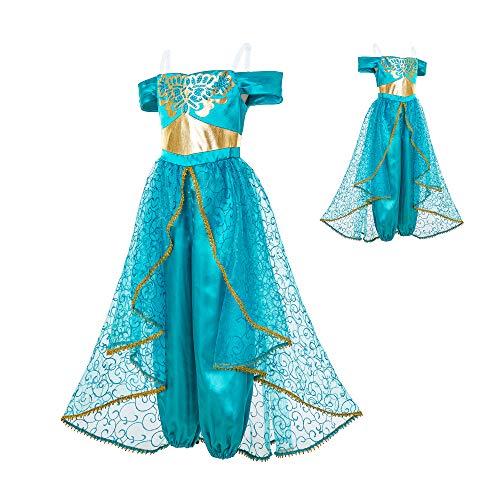 Mooler Princesa Girls Dress Up - Disfraz de princesa para fiesta de Halloween (princesa azul)