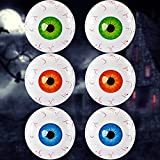 6 Pieces Halloween Inflatable Eyeball 22 Inches Halloween Theme Eyeballs Aluminum Film Crazy Inflatable Eyeball for Indoor and Outdoor Garden Yard Halloween Party Decorations, Green, Blue, Red