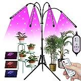 Pflanzenlampe LED mit Ständer, 4 Köpfe Vollspektrum Grow Lampe für Zimmerpflanzen, pflanenlicht für Sämlinge, 10 Dimmstufen und 3 Lichtmodi, 4/8 / 12H-Timer, HF-Regler,Tripod einstellbar15-61Inch