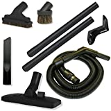 7 Piece RV Vacuum Cleaning Tool Set with Compact Stretch Hose and Combination Rug and Floor Tool in Black