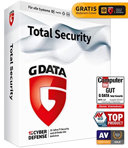 G DATA Total Security 2021   3 Geräte - 1 Jahr   Virenschutzprogramm   Passwort Manager   PC, Mac, Android, iOS   DVD   inkl. Webcam-Cover   zukünftige Updates inklusive
