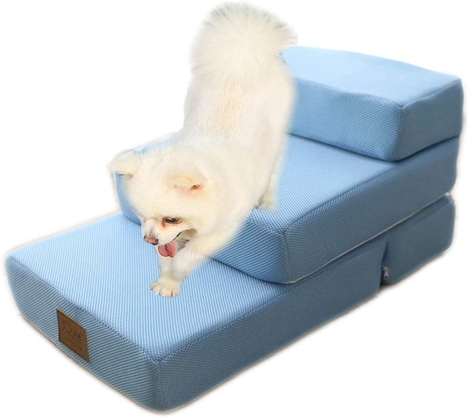 Pet Stairs Dog Bed Ladder Cat Ramp  2 3 Tier Foldable for Tall Sofa,Removable Washable Cover (color   bluee, Size   3STEP)