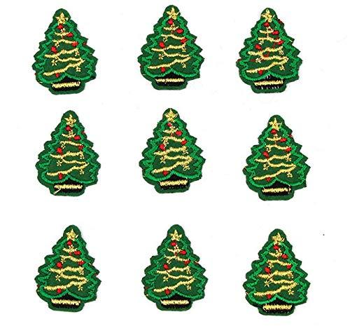 AMOYER 10pcs Gestickte Mini Weihnachten Xmas Tree Patches Eisen Auf Appliqued DIY Kleidung Aufkleber Handgemachte Weihnachtsfest-Kleidung-kostüm Applikationen Zubehör