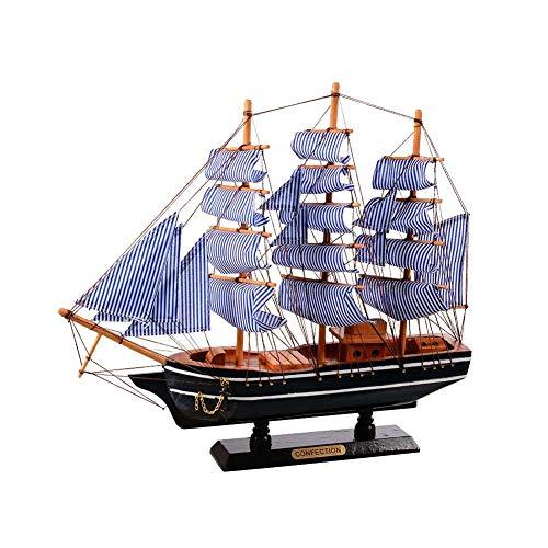 Segelboot-Modell, Retro-Holz, mediterraner Stil, Mini-Segelboot-Modell Mediterrane Segelboot Modell