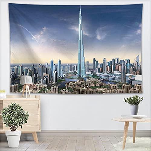 KONZFL tapizNuevo Paisaje de Dubai Tapiz Colgante de Pared decoración del hogar Moda Colorida decoración Impresa Tapiz Dormitorio Alfombra Hojas