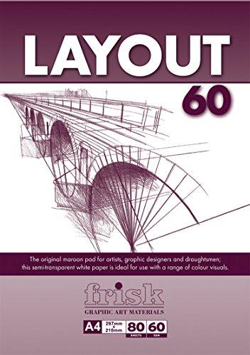 Frisk Layout Zeichenpapier, A4, halbtransparent, 60g/m², 80 Bögen, Weiß