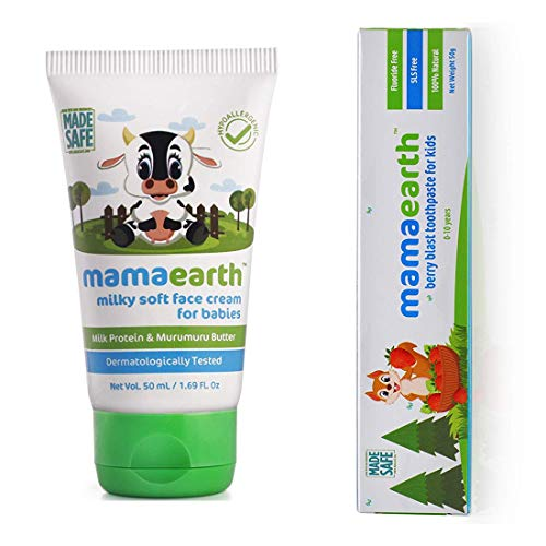 Mamaearth Milky Soft Natural Baby Face Cream for Babies 50mL änd 100 Percent Natural Berry Blast Kids Toothpaste, 50g