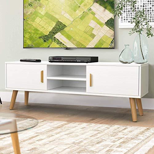 amzdeal Fernsehtisch Weiß Holz, TV Schrank TV Tisch TV Möbel TV Lowboard TV Board, Modern Entertainment Einheit mit 2 Türen & 2 Regalen für Wohnzimmer Schlafzimmer (112x30x43.5cm)