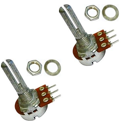 2x A100K Ohm 100K Ohm A104Single Mono Logarithmisch Log gerändelt Splined Schaft Rotary Potentiometer Pot 3Terminal Schaft: 25mm
