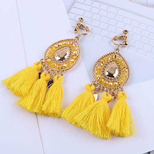 Tassel Clip On Earrings Without Piercing Bohemia Fashion Jewelry Trendy Cotton Rope Fringe Ear Clip for Women Party (Metal Color : Huang)