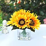 Enova Home 6 Heads Silk Sunflower Arrangement Flower Centerpiece in Clear Glass Vase with Faux Water for Home Decoration