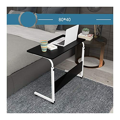 WERTYU Days Overbed Table, Mobile Lap Table Computer Desk Stand Desk Height Adjustable Table Side Table for Bed Sofa Overbed Table with Castor (Color : Ivory White 80x40cm)