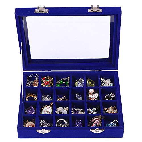 TBoxBo Velvet 24 Grid Glass Jewelry Tray Jewellery Display Stand Storage Case Box Holder Organiser Stackable Jewelry Display Showcase Lockable Jewelry Rings Earrings Pendants Storage