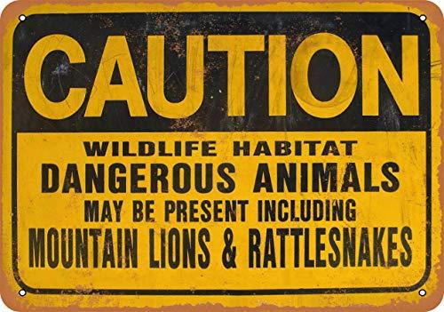 Caution Mountain Lions & Rattlesnakes Blechschild Retro Blech Metall Schilder Poster Deko Vintage Kunst Türschilder Schild Warnung Hof Garten Cafe Toilette Club Geschenk