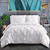 ASHLEYRIVER 3 Piece White Twin Duvet Cover with Zipper & Corner Ties 100% 120 g Microfiber Pintuck Duvet Cover Set(Twin White)