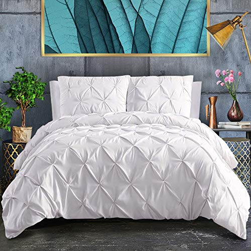 ASHLEYRIVER 3 Piece Luxurious Pinch Pleated Duvet Cover with Zipper & Corner Ties 100% 120 g Microfiber Pintuck Duvet Cover Set(King White)
