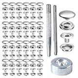 200 Pieces 15MM Stainless Steel Snap Fasteners Press Stud Buttons with Punching Tool Set for Marine Boat Canvas Leather Rivet