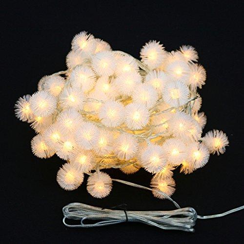 Ecloud Shop® 3 mètres 30 lumière LED Pissenlit Lanterne chaîne Batterie Style Boule de Fourrure Pendentif pour la décoration de Noël (Blanc Chaud)